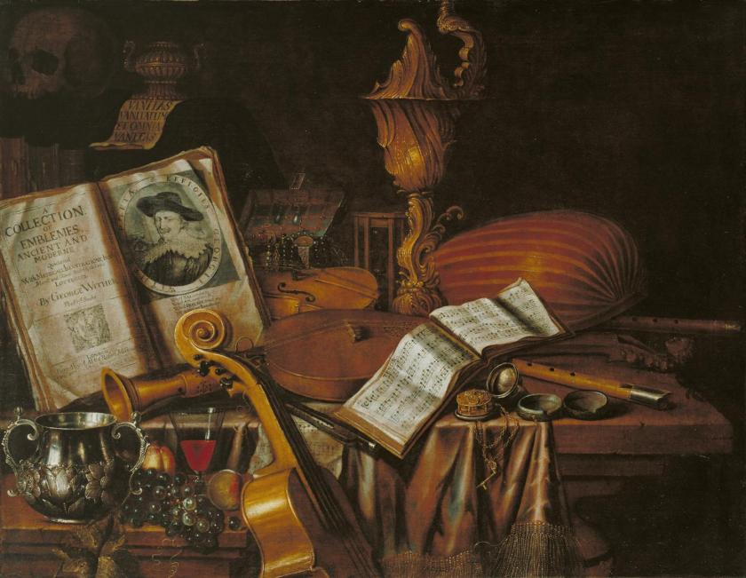 Still Life with a Volume of Wither's 'Emblemes' 1696 by Edward Collier active 1662-1708